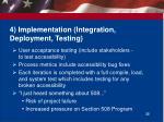 4 implementation integration deployment testing