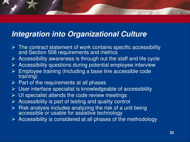 Integration into Organizational Culture