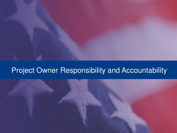 Project Owner Responsibility and Accountability