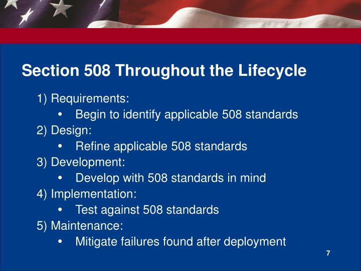 Section 508 Throughout the Lifecycle