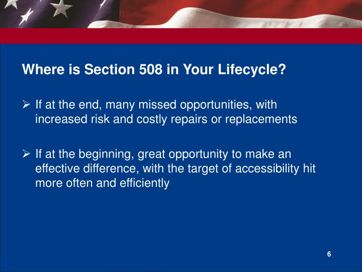 Where is Section 508 in Your Lifecycle?