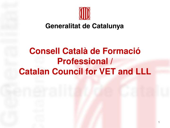 Consell catal de formaci professional catalan council for vet and lll