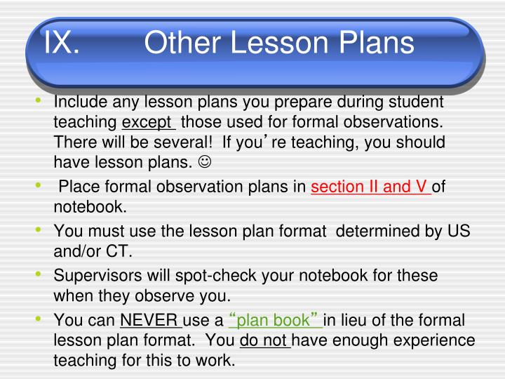 IX.		Other Lesson Plans