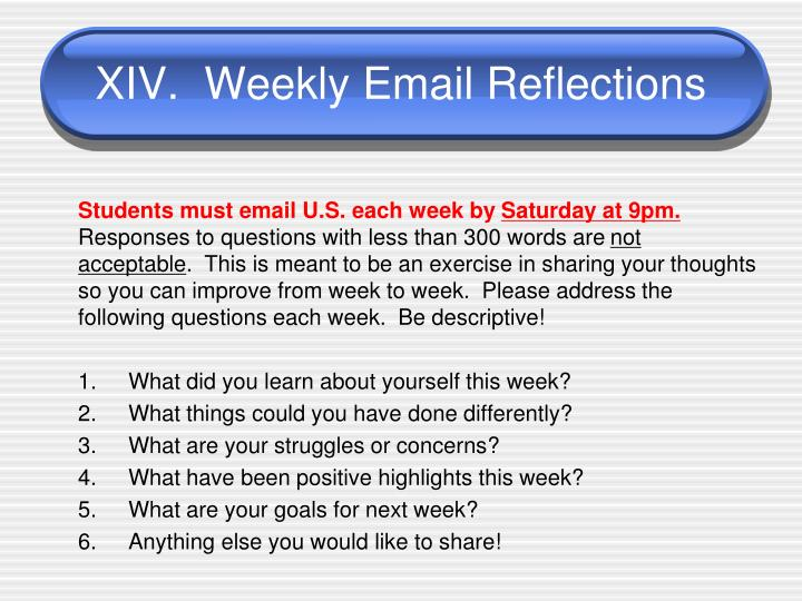 XIV.  Weekly Email Reflections
