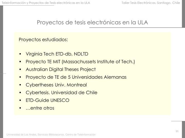Proyectos de tesis electrónicas en la ULA