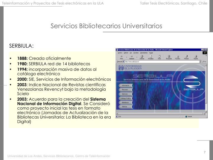 Servicios Bibliotecarios Universitarios