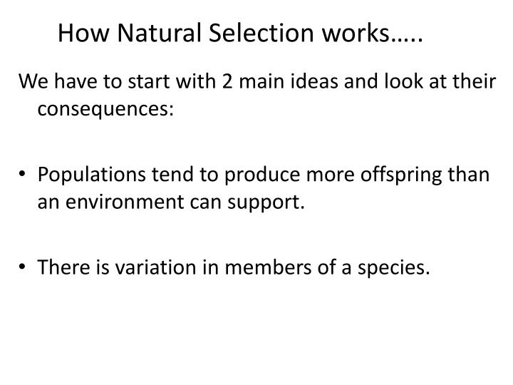 How Natural Selection works…..