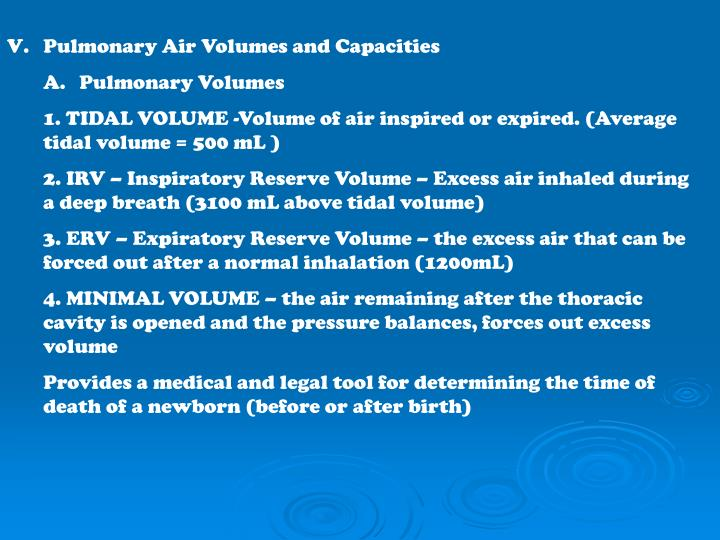 Pulmonary Air Volumes and Capacities