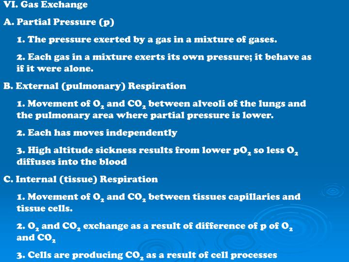 VI. Gas Exchange