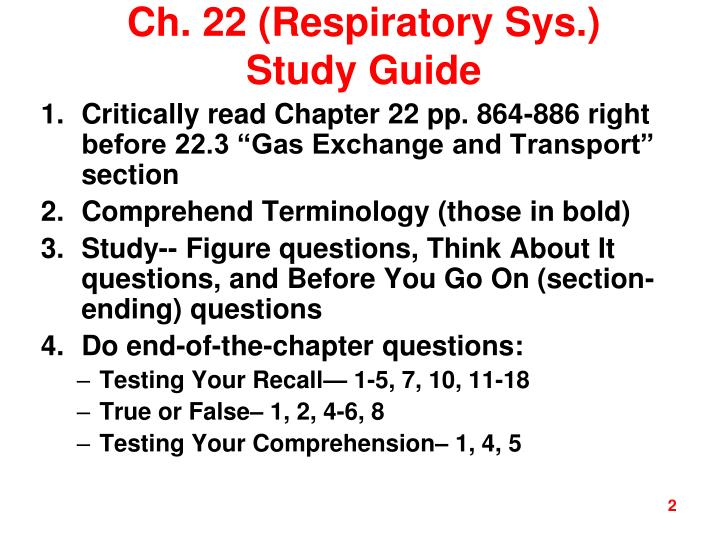 Ch. 22 (Respiratory Sys.) Study Guide