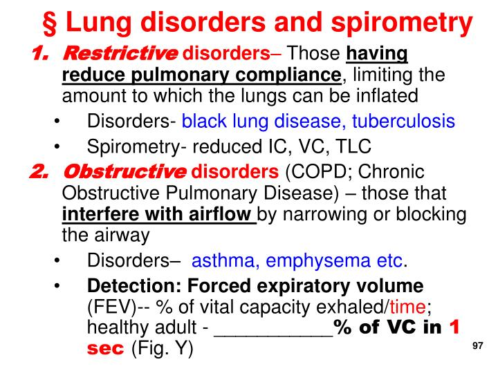 § Lung disorders and spirometry