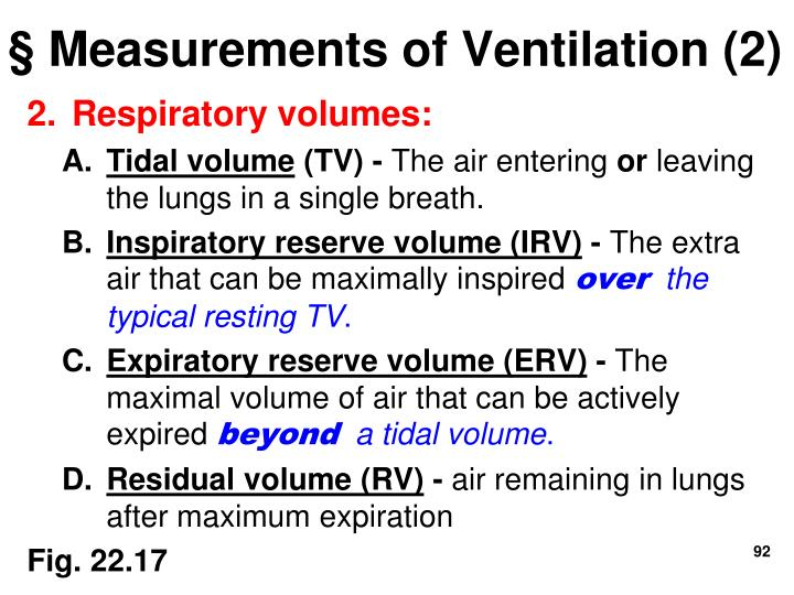 § Measurements of Ventilation (2)