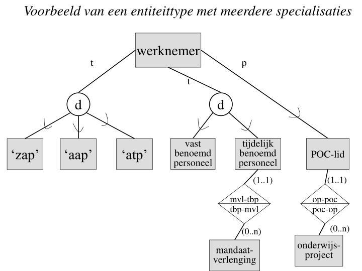 Voorbeeld van een entiteittype met meerdere specialisaties