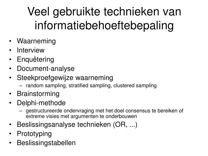 Veel gebruikte technieken van informatiebehoeftebepaling