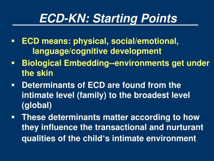 ECD-KN: Starting Points