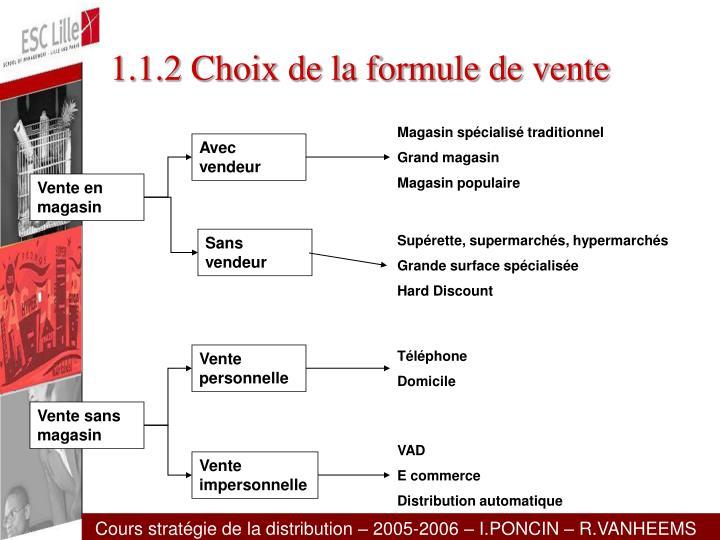 1.1.2 Choix de la formule de vente