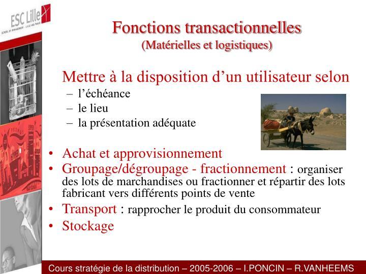 Fonctions transactionnelles