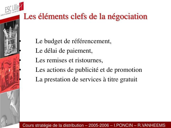 Les éléments clefs de la négociation