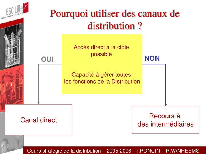 Pourquoi utiliser des canaux de distribution ?