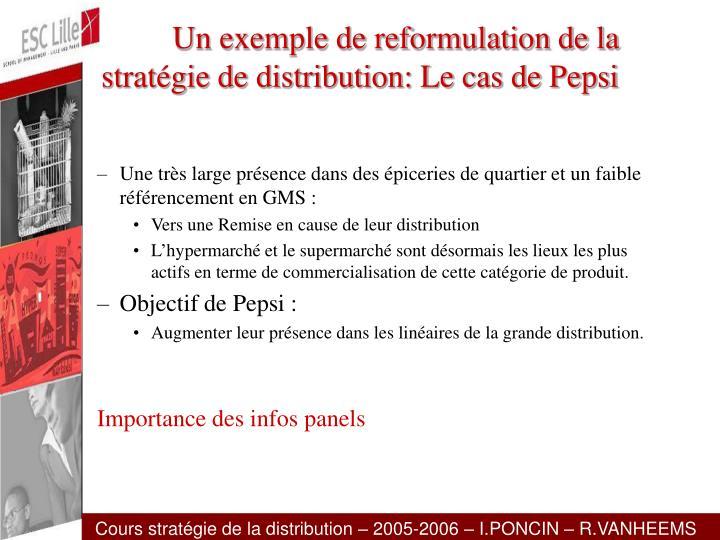 Un exemple de reformulation de la stratégie de distribution: Le cas de Pepsi