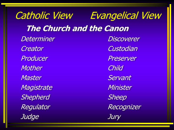 Catholic View      Evangelical View