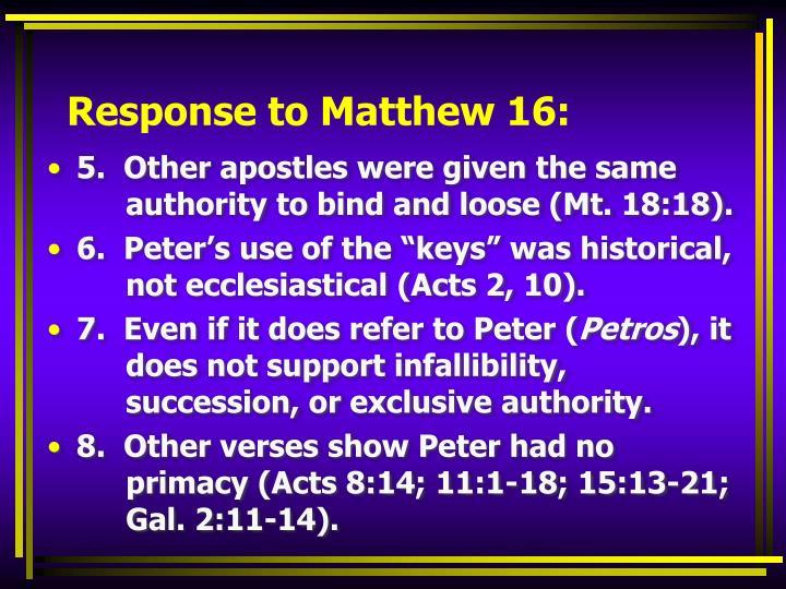 Response to Matthew 16: