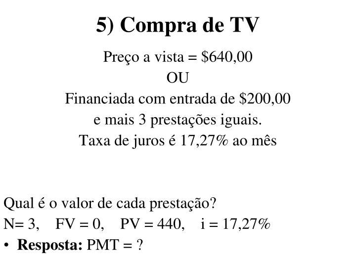 5) Compra de TV