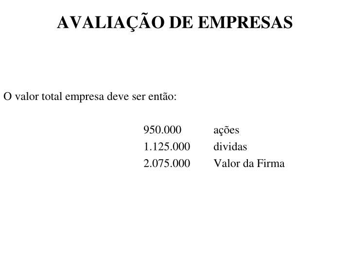 AVALIAÇÃO DE EMPRESAS
