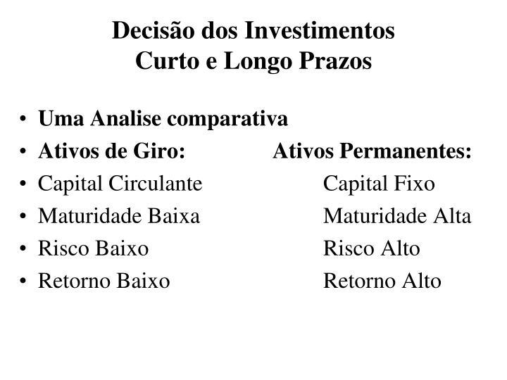 Decisão dos Investimentos