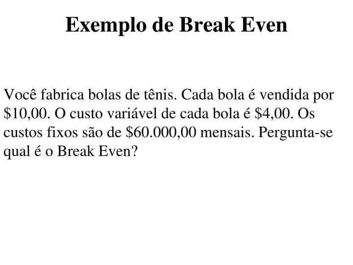 Exemplo de Break Even
