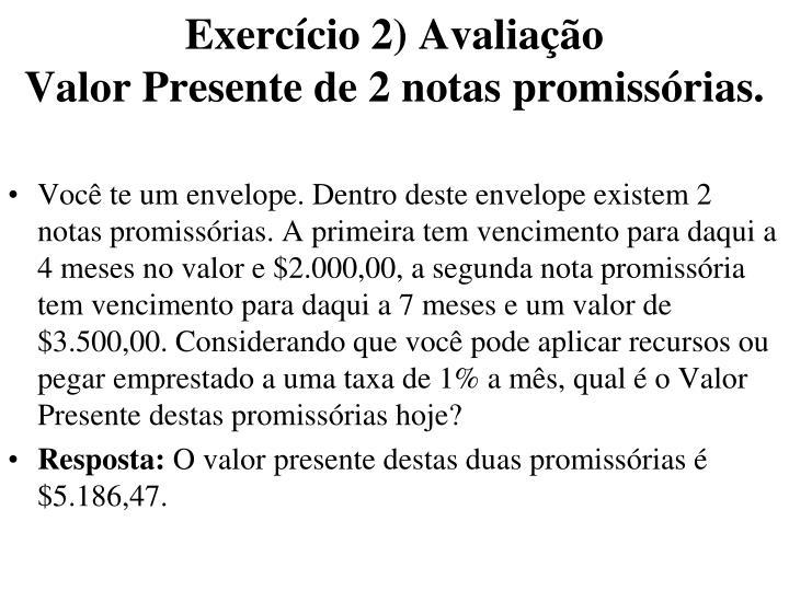 Exercício 2) Avaliação