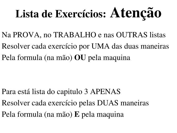 Lista de Exercícios: