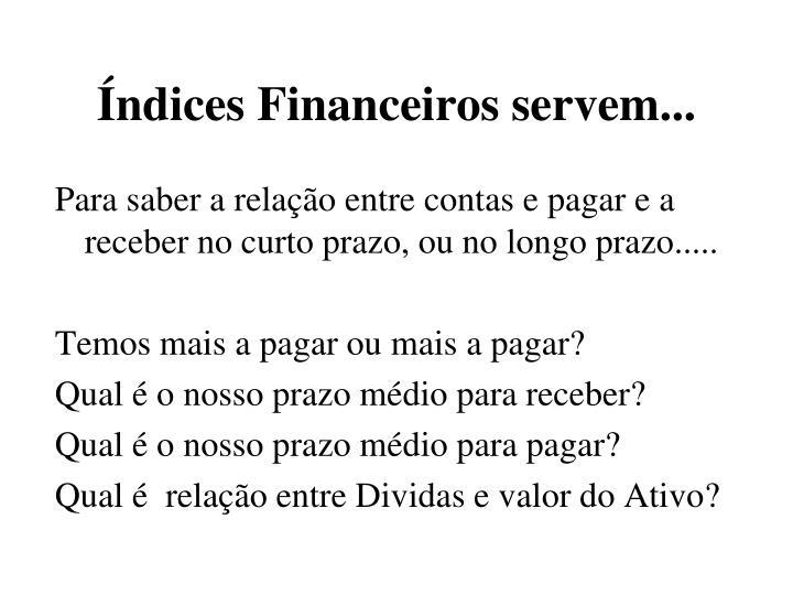 Índices Financeiros servem...