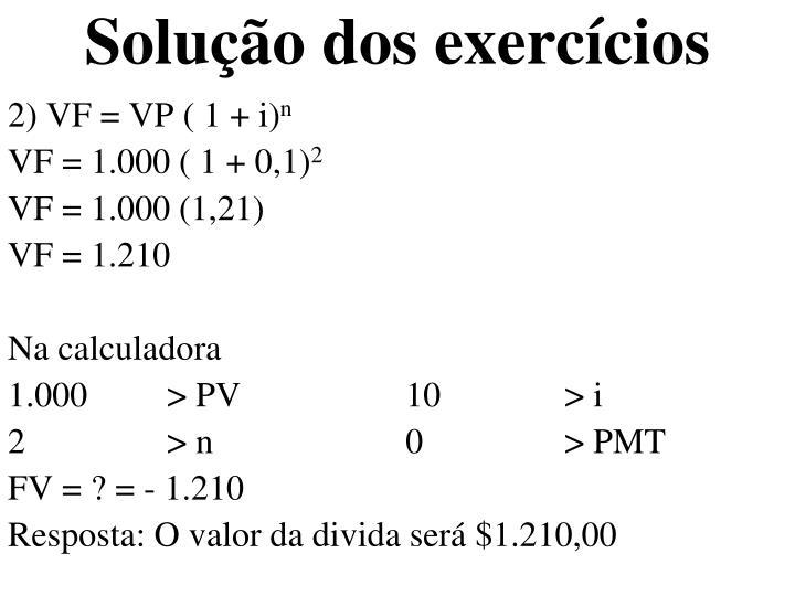 Solução dos exercícios