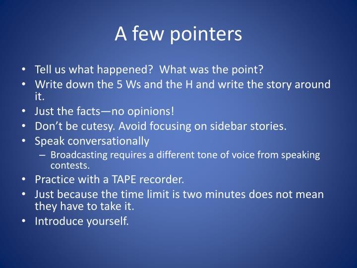 A few pointers