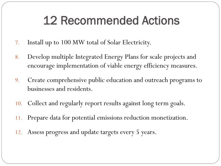 12 Recommended Actions