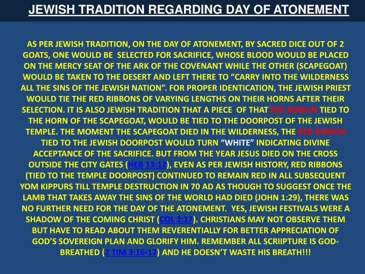 JEWISH TRADITION REGARDING DAY OF ATONEMENT