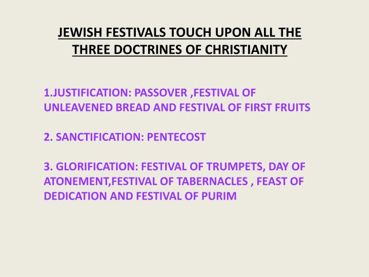 JEWISH FESTIVALS TOUCH UPON ALL THE THREE DOCTRINES OF CHRISTIANITY
