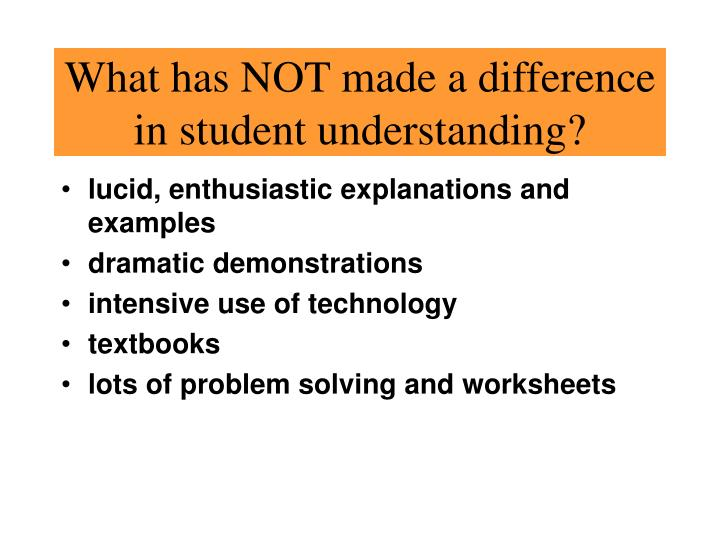 What has NOT made a difference in student understanding?