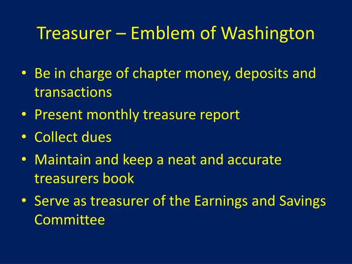 Treasurer – Emblem of Washington