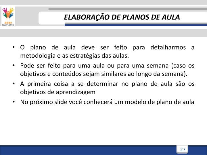 ELABORAÇÃO DE PLANOS DE AULA