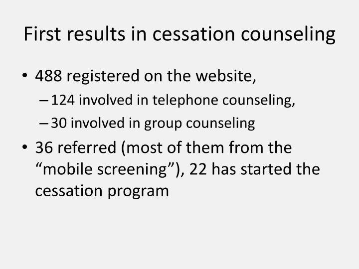 First results in cessation counseling
