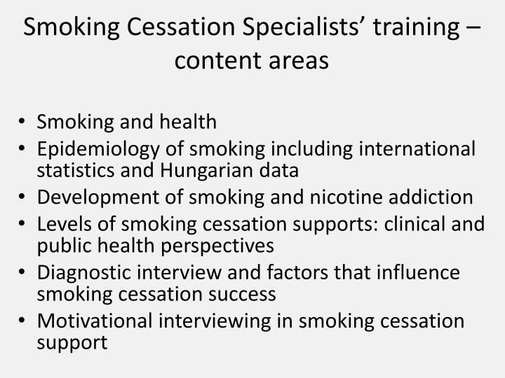 Smoking Cessation Specialists' training – content areas