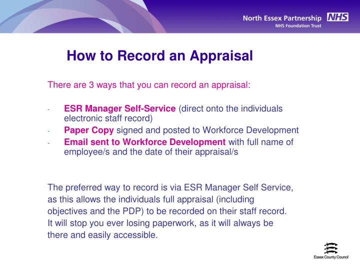 How to Record an Appraisal