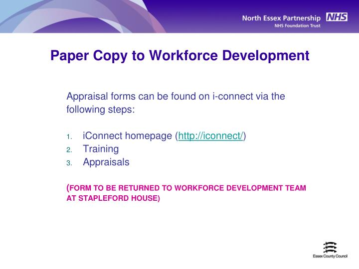 Paper Copy to Workforce Development