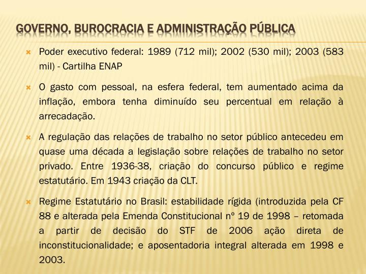 Poder executivo federal: 1989 (712 mil); 2002 (530 mil); 2003 (583 mil) - Cartilha ENAP