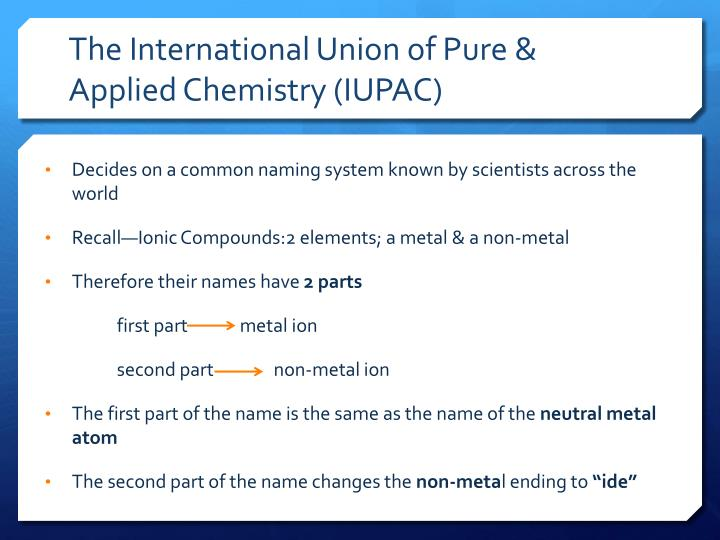 The International Union of Pure & Applied Chemistry (IUPAC)