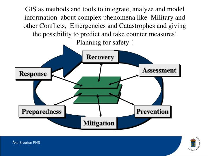 GIS as methods and tools to integrate, analyze and model information  about complex phenomena like  Military and other Conflicts,  Emergencies and Catastrophes and giving the possibility to predict and take counter measures! Planning for safety !