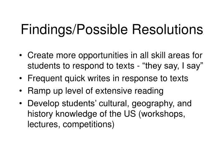 Findings/Possible Resolutions