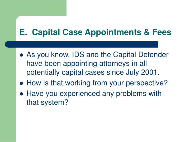 E.  Capital Case Appointments & Fees